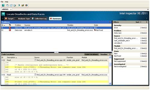 マルチスレッド開発ガイド: 4.4 (XE) インテル® Inspector XE 2011 を使用したマルチスレッド・コードのデータ競合の検出
