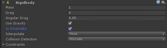 isKinematic フラグをオンにしてオブジェクトの移動を制御する