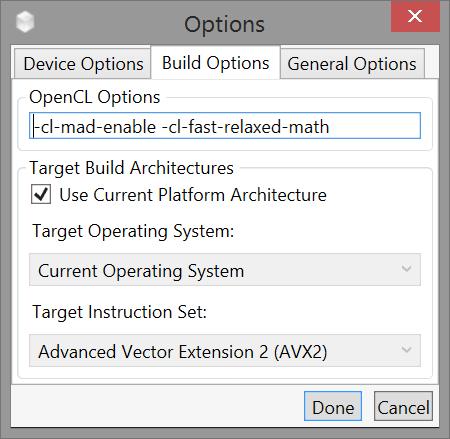 Options ダイアログの Build Options