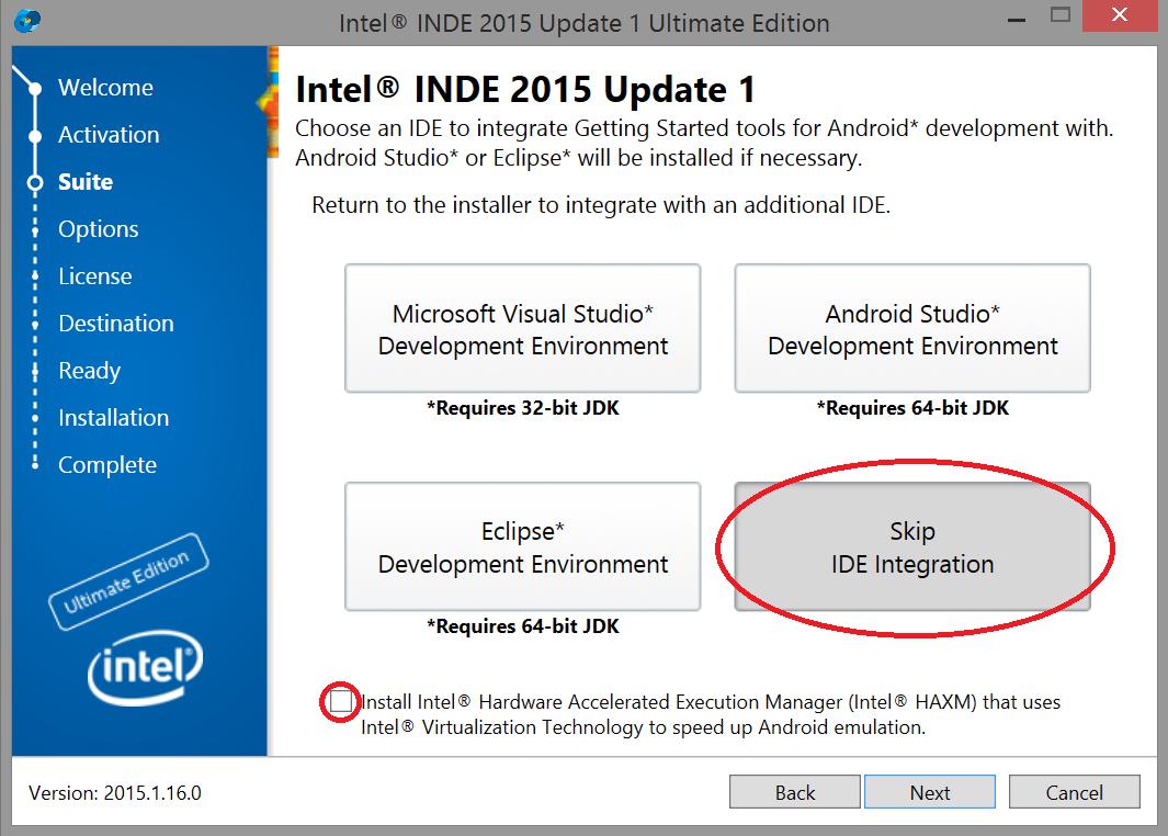 IDE 統合をスキップ
