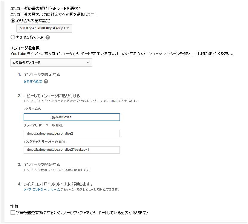 YouTube* のエンコーダー・オプション