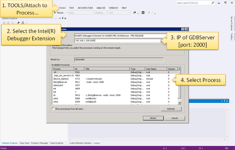 Debugging Native Coprocessor Applications - Attach to Process...