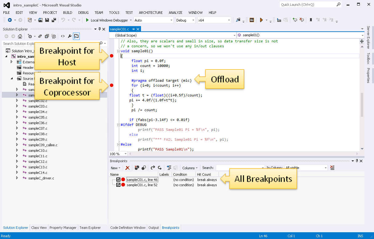 Debugging Applications with Offload Extension - Setting Breakpoints
