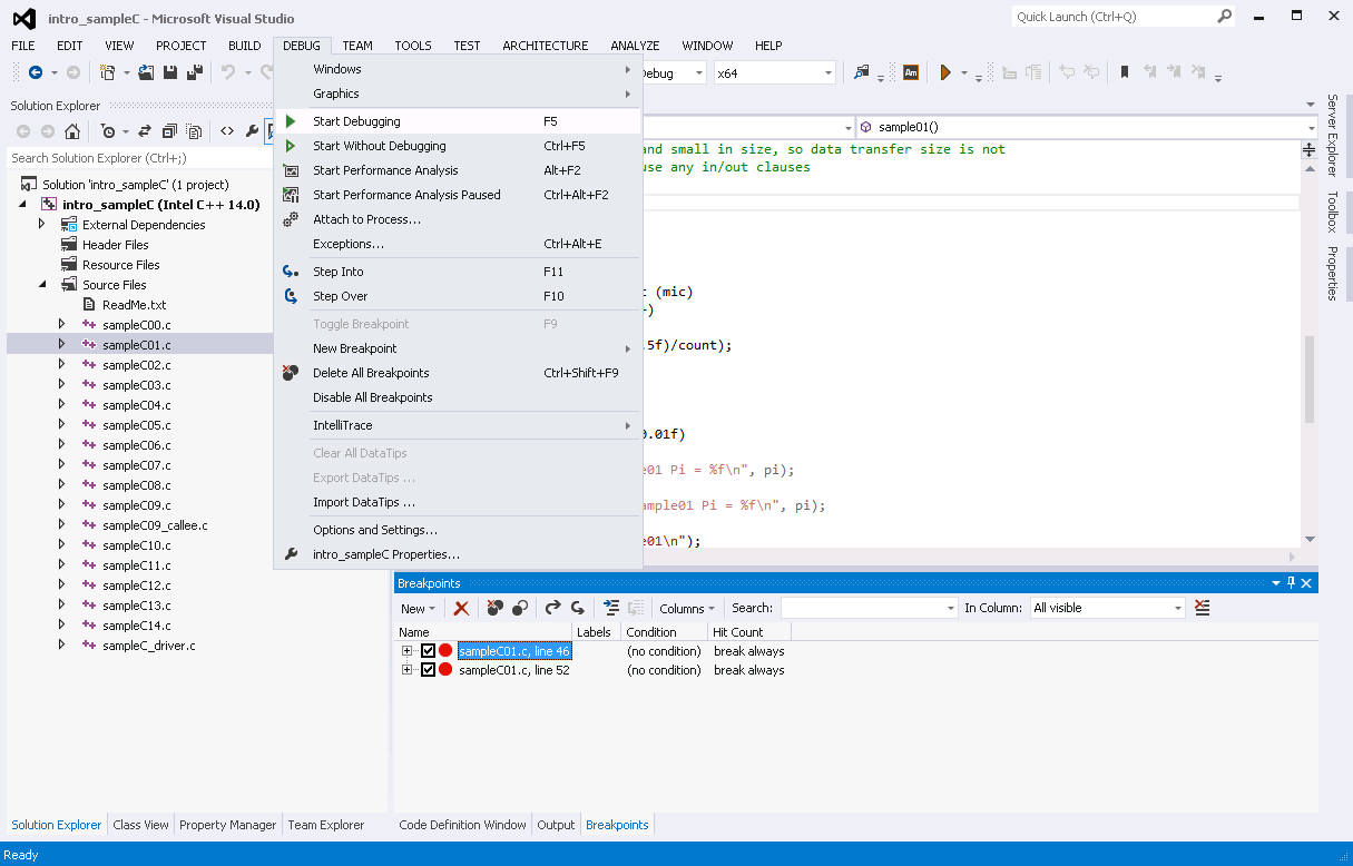 Debugging Applications with Offload Extension - Start Debugging