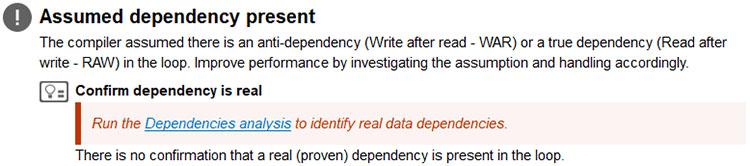 推奨事項: 推定される依存関係が存在