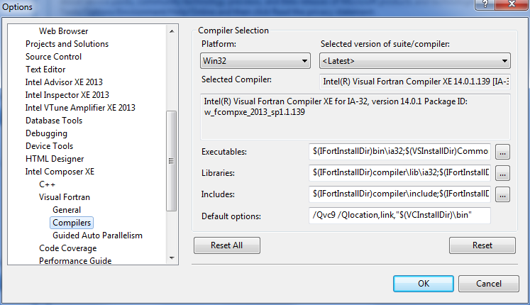 Visual Studio* 2008 の [Compiler Selection (コンパイラーの選択)] ダイアログ