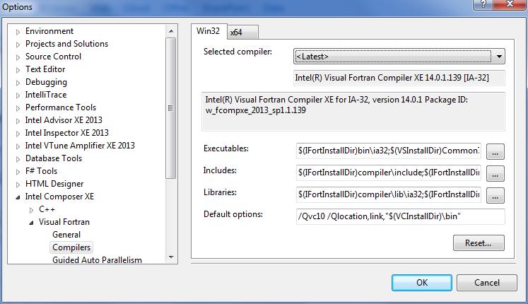 異なる Microsoft* Visual Studio* バージョンで古いインテル® Visual Fortran コンパイラーを使用する