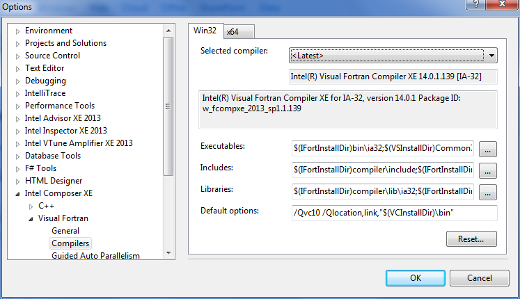 Visual Studio* 2010 以降の [Compiler Selection (コンパイラーの選択)] ダイアログ