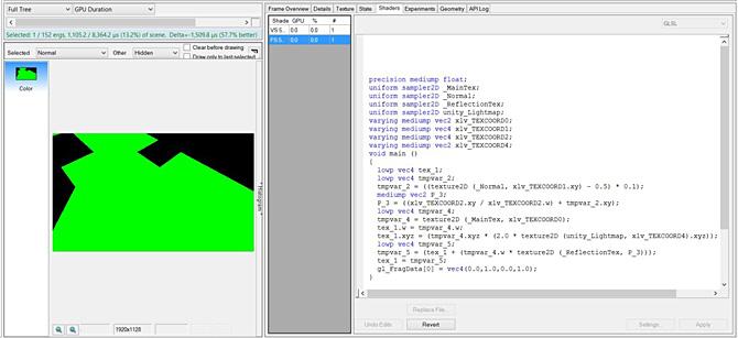 ハードコードした green 値を出力するようにシェーダーを編集し、描画呼び出しを 57.7% 高速化