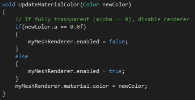 オブジェクトの透過処理を編集する場合、オブジェクトが可視かどうか確認し、必要に応じて無効にすることでリソースを節約する