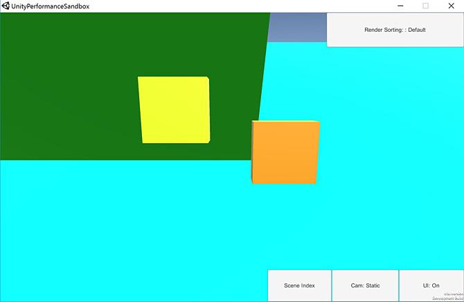 切り替え可能なレンダーキュー順序メソッド (デフォルトまたはスマート) を使用した通常のシーン。