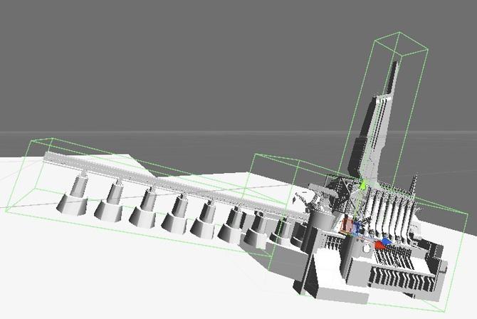 この大きな構造物には 3 つのプリミティブ・コライダーを使用している。メッシュコライダーを使用した場合よりもパフォーマンスが大幅に向上します。