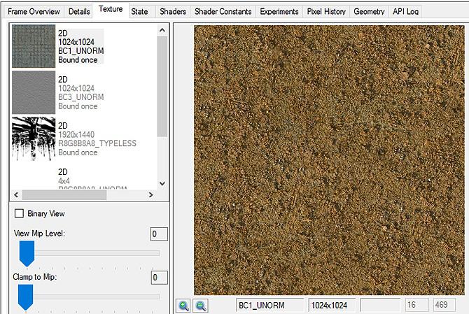 インテル® GPA Frame Analyzer でテクスチャーの 4 番目のMIP レベルとフォーマットを表示
