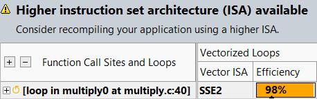 サーベイレポートは上位の命令セットが利用可能であることを示している