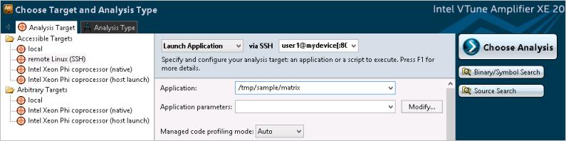 [Choose Target and Analysis Type (ターゲットと解析タイプの選択)] ウィンドウ