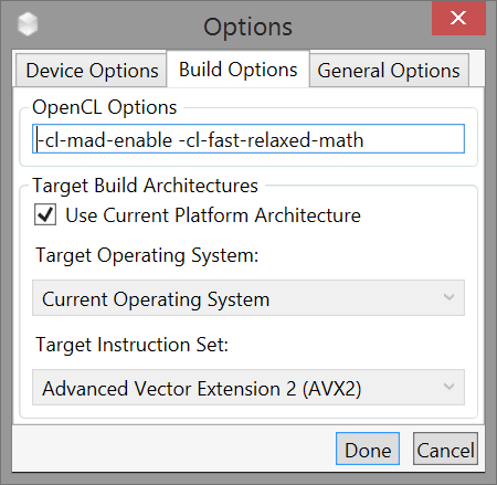Options ダイアログの Build Options