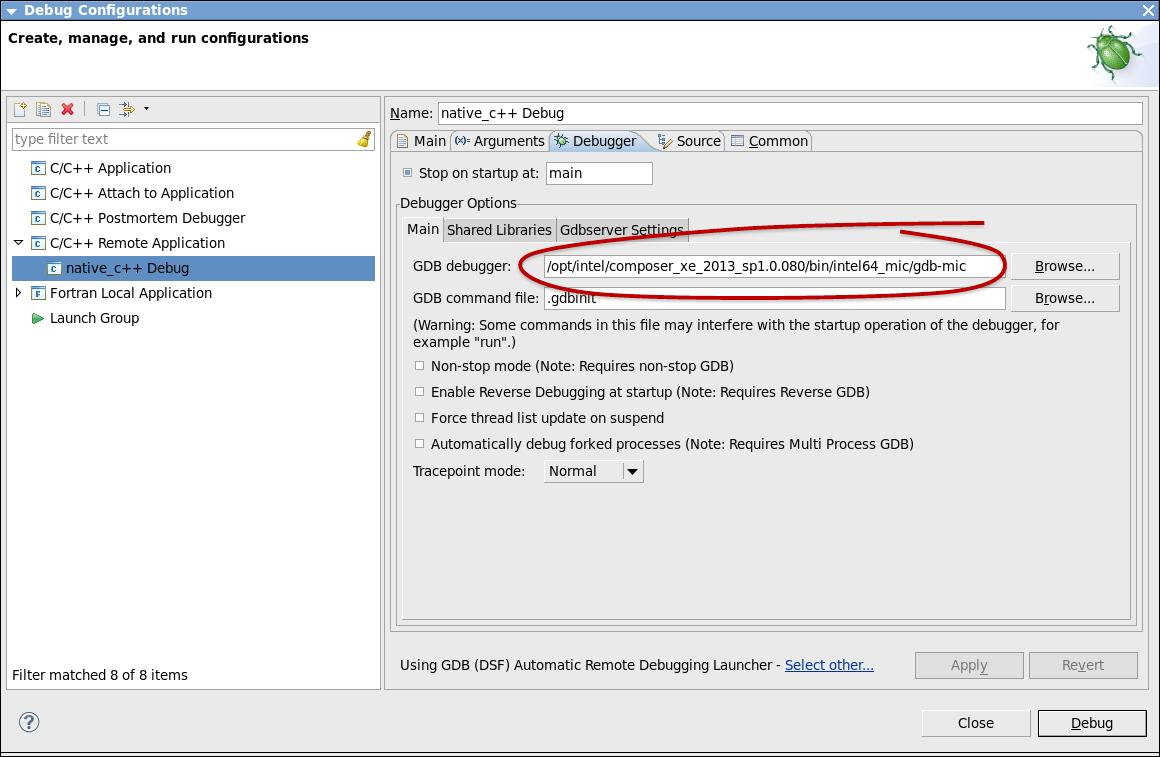Eclipse* IDE の [Debug Configurations] ウィンドウ ([Debugger] タブ)