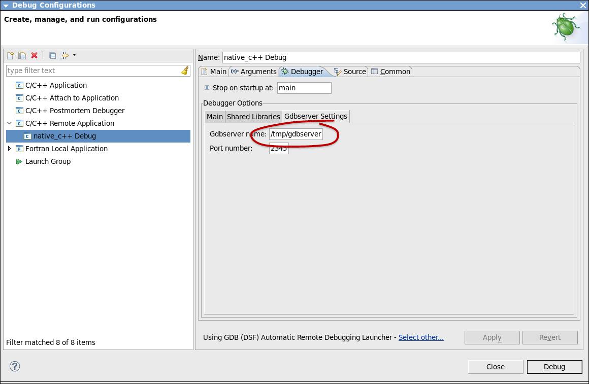 Eclipse* IDE の [Debug Configurations] ウィンドウ ([Debugger] タブの [GDBServer Settings])