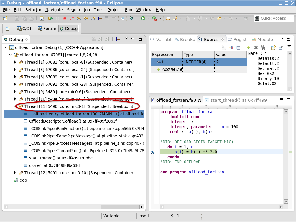 Eclipse* IDE でのオフロード・デバッグ・セッション (例)