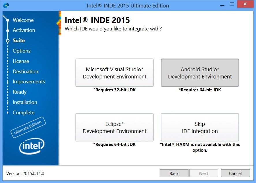 インテル® INDE 2015 Android Studio* IDE 統合を使用してネイティブ Android* アプリケーションを開発するには?
