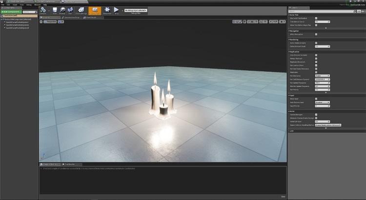 Unreal* Engine 環境のキャンドル・オブジェクト