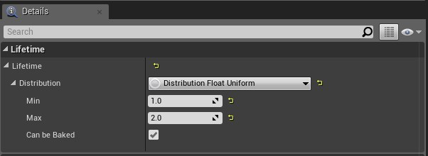 [Details] パネルでパーティクルの存続期間を設定