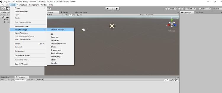 Unity* のインポートパッケージ UI