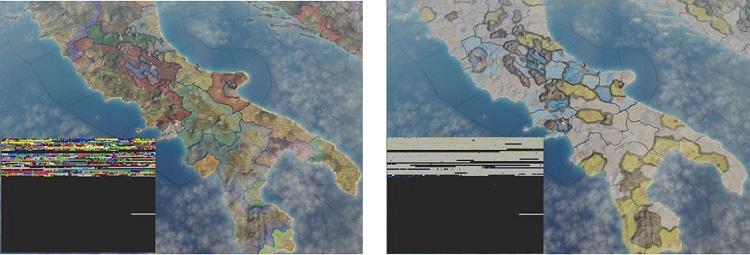 マップモードが変更されるたびにカラーマップは新しいデータで更新される。