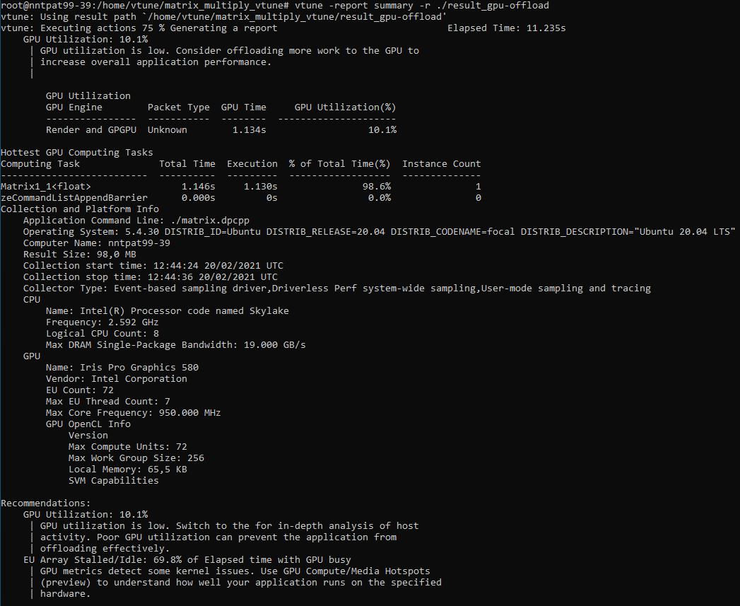 GPU オフロード CLI 解析のサマリーレポート