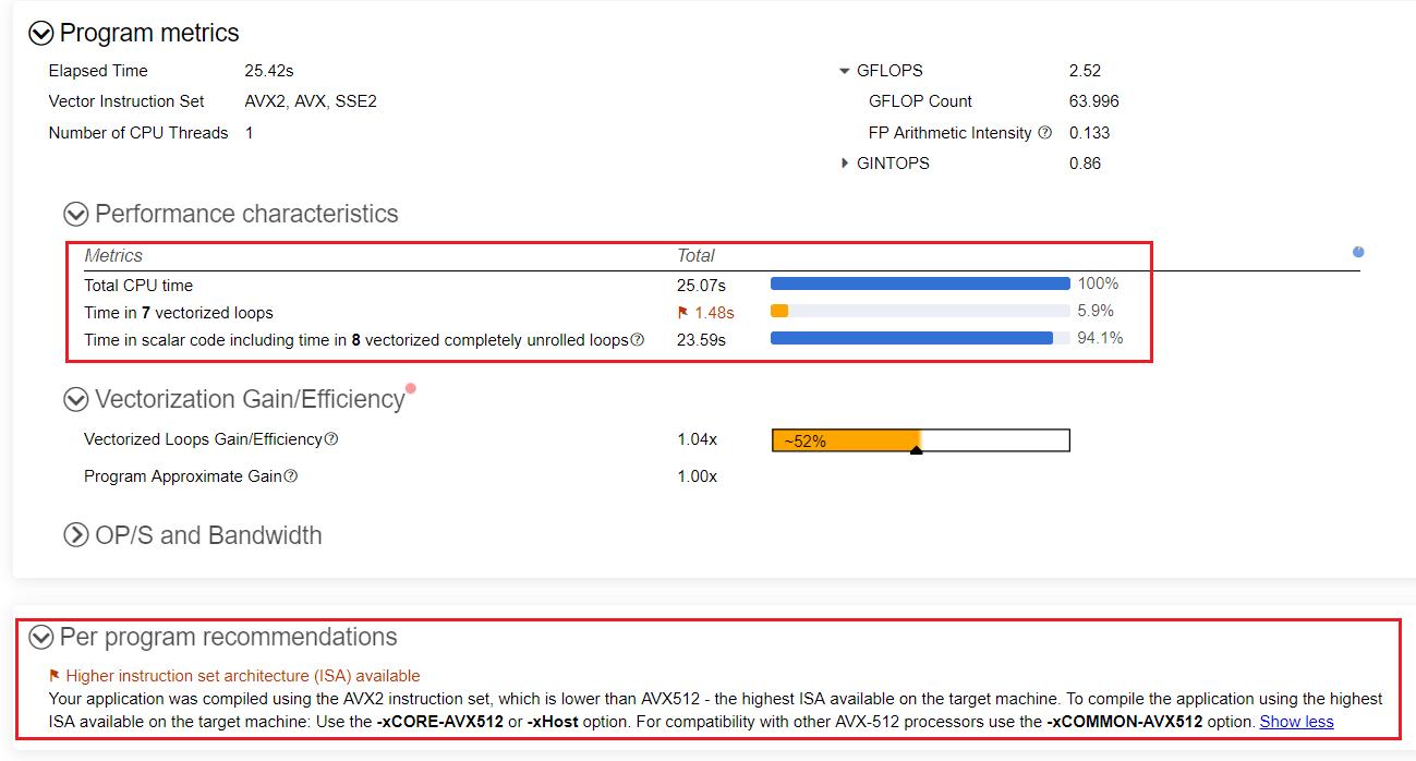ベースライン結果とプログラム固有の推奨事項を含むインテル® Advisor のサマリービュー