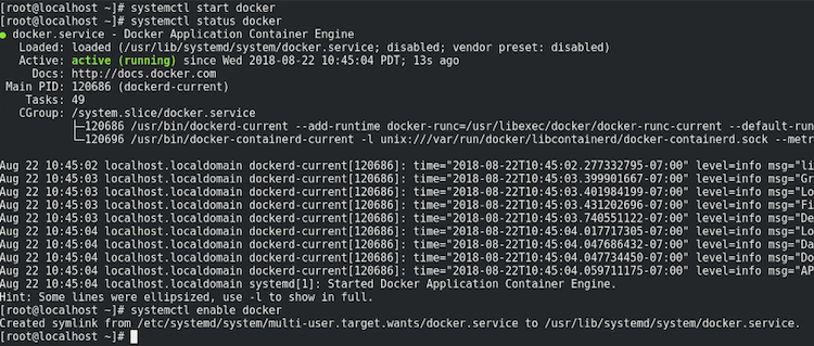 systemctl enable docker result example