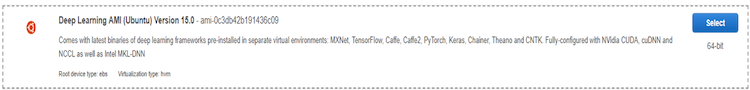 selected Deep Learning AMI screenshot