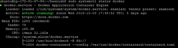 docker status example
