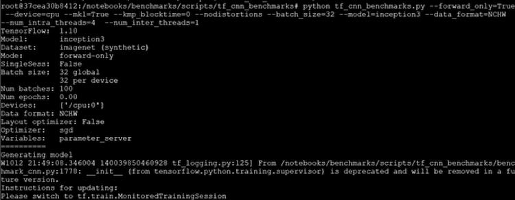 run TensorFlow CNN benchmarks result example