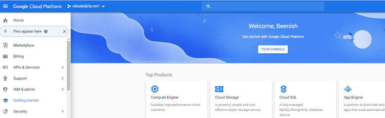 google cloud platform console screenshot