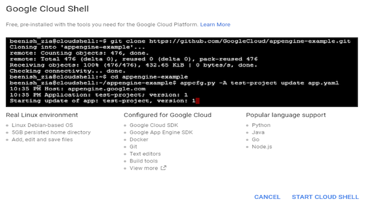 Google Cloud Shell screenshot