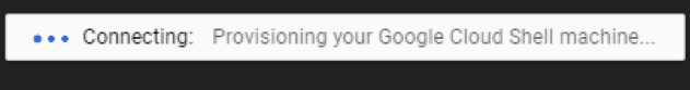 Google cloud shell starting screenshot