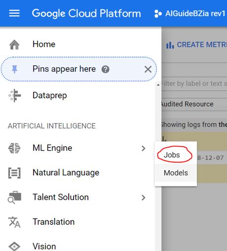 GCP ML Engine Jobs screenshot