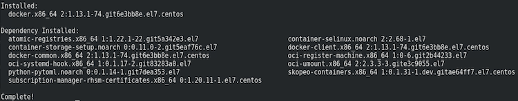yum install docker result example