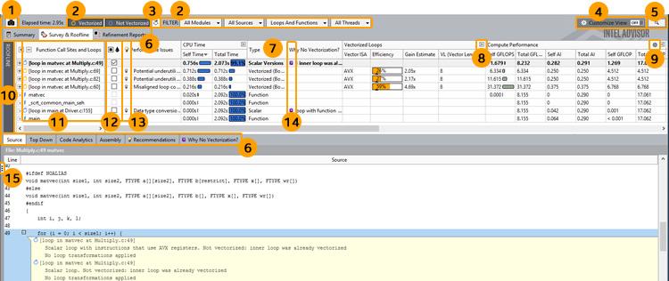インテル® Advisor: サーベイレポートのコントロール
