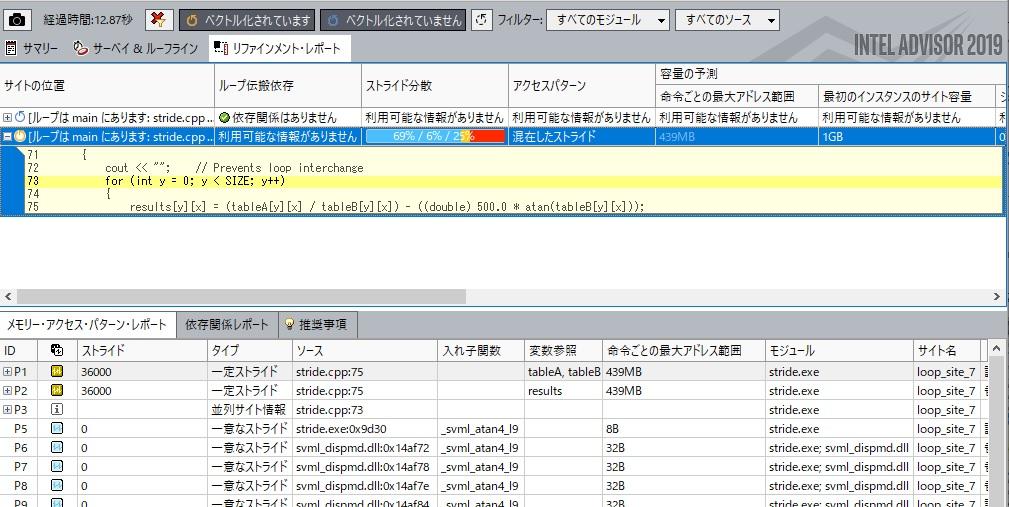インテル® Advisor: メモリー・アクセス・パターン (MAP) レポート