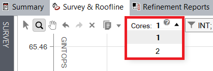 The dropdown for selecting the number of cores to scale the roofline to is located in the upper left corner of the roofline chart.