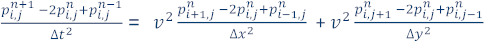 Approximation of the continuous partial derivatives using second order central differences
