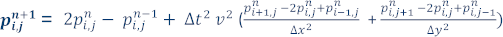 Finite-difference formula to approximate the solution of the two dimensional acoustic wave equation