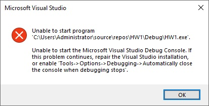 Unable to start program
