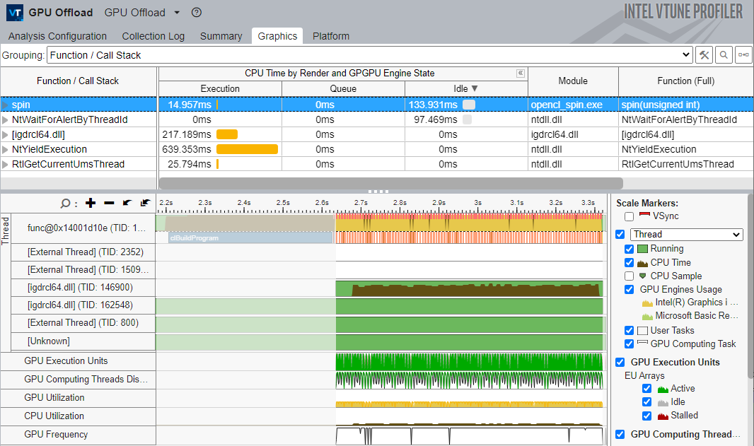 GPU オフロード解析の関数/コールスタックのグループ化