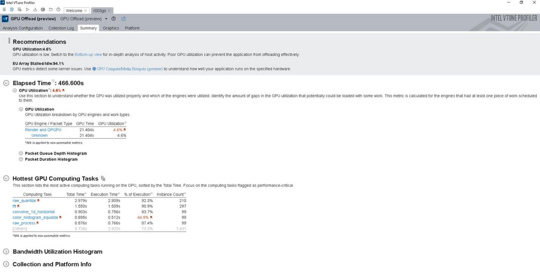 インテル® VTune™ プロファイラーの GPU オフロード解析の結果のサマリー