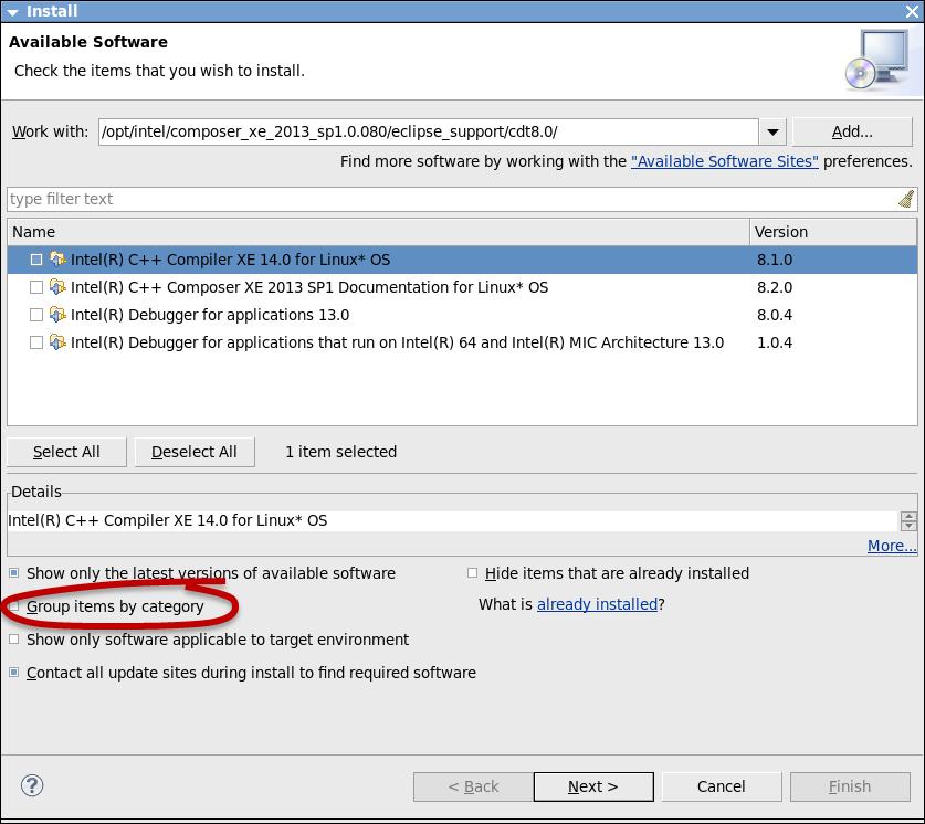インテル® C++ コンパイラー・プラグインのインストール (オプション)