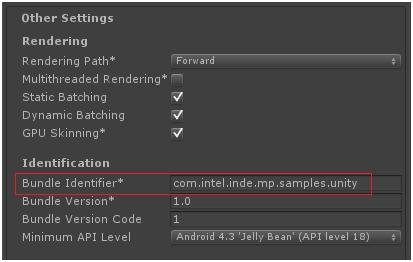 Player Settings / Other Settings / Bundle Identifier
